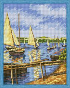 Алмазная мозаика «Парусные лодки» 40x50 см