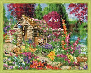 Алмазная мозаика «Сторожка в цветах» 40x50 см