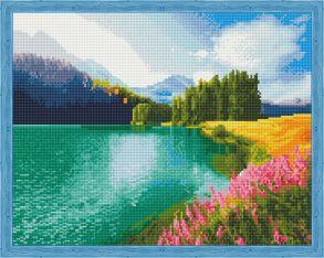 Алмазная мозаика «Цветущее поле у озера» 40x50 см