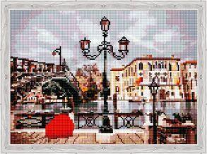 Алмазная мозаика «Фонарь и мост» 30x40 см