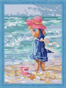 Алмазная мозаика «Девочка в розовой шляпе» 30x40 см