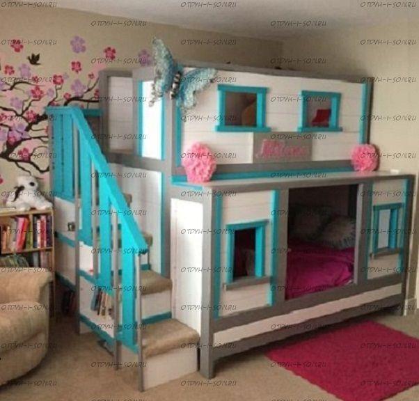 Двухъярусная кровать домик Fantasy №14