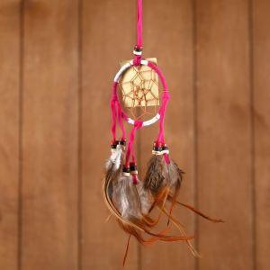 """Ловец снов """"Гармония"""" бело-розовый (коричневые перья) 6х0,5х20 см    4584191"""