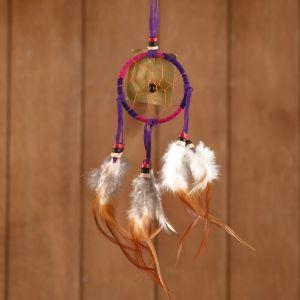 """Ловец снов """"Гармония"""" розово-сиреневый (коричневые перья) 6х0,5х20 см    4584189"""