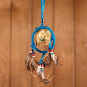 """Ловец снов """"Гармония"""" сине-голубой (коричневые перья) 6х0,5х20 см    4584192"""