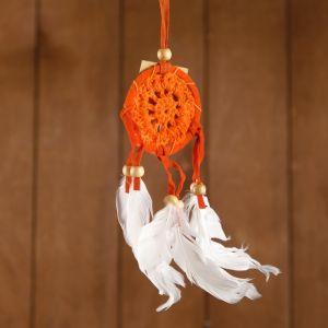 """Ловец снов """"Спокойствие"""" оранжевый (белые перья) 6х0,5х20 см    4584183"""