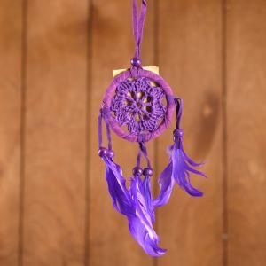 """Ловец снов """"Спокойствие"""" сиреневый (фиолетовые перья) 6х0,5х20 см    4584182"""