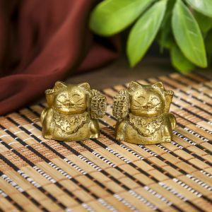 """Сувенир полистоун """"Манэки-нэко"""" набор 2 шт бронза 2,5х2,5х2,5 см 2784575"""