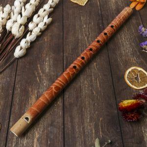 """Музыкальный инструмент бамбук """"Флейта с узором"""" 40x2,5x2,5 см   4165861"""