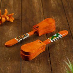 """Музыкальный инструмент дерево """"Кастаньет с узором"""" 4x5x23 см   4165863"""