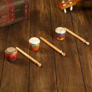 Музыкальный инструмент Трещотка-барабан роспись МИКС 17х4,5х4,5 см 2028283