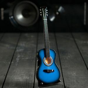 "Гитара сувенирная ""Gibson Es"" чёрно-жёлтая, на подставке 24х8х2 см 5076710"