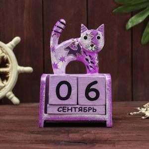"""Деревянный календарь """"Фиолетовая кошка""""11х6х15 см МИКС (2языка) 2630509"""