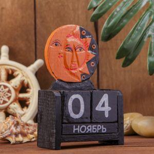 """Календарь настольный дерево """"Месяц и солнце"""" 10х5х15 см   3370542"""