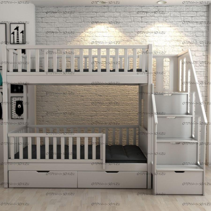 Кровать двухъярусная с ящиками Лейла Классика