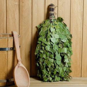 """Веник для бани """"Зелёный шум"""" берёзовый с эвкалиптом, в индивидуальной упаковке   4584060"""