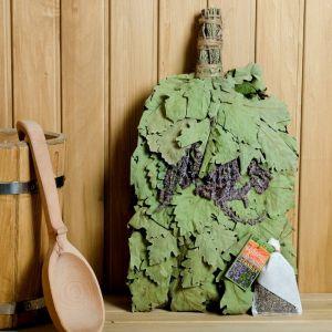 """Веник для бани """"Лавандовый прованс"""" из кавказского дуба с лавандой, в индивидуальной упаковк   45840"""