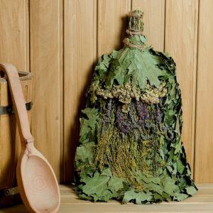"""Веник для бани """"Лесной микс"""" из красного дуба с травами, в индивидуальной упаковке   4584047"""