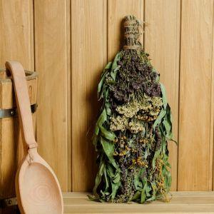 """Веник для бани """"Травяной коктейль"""" из букета различных трав, в индивидуальной упаковке   4584069"""