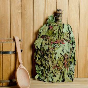 Веник для бани ОСОБЫЙ из красного дуба с черноклёном, в индивидуальной упаковке   4584046