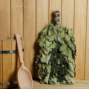 Веник для бани ЭКСТРА из кавказского дуба с крапивой, в индивидуальной упаковке   4584057