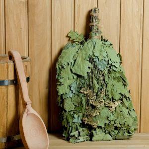 Веник для бани ЭКСТРА из кавказского дуба с тысячелистником, в индивидуальной упаковке   4584051