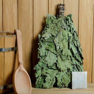 Веник для бани ЭКСТРА из кавказского дуба с чабрецом, в индивидуальной упаковке   4584050