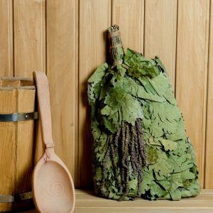 Веник для бани ЭКСТРА из кавказского дуба с шалфеем, в индивидуальной упаковке   4584056