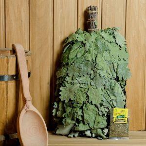 """Набор веник ЭКСТРА из кавказского дуба с чайным напитком """"Отдохни"""",в индивидуальной упаковке   45840"""