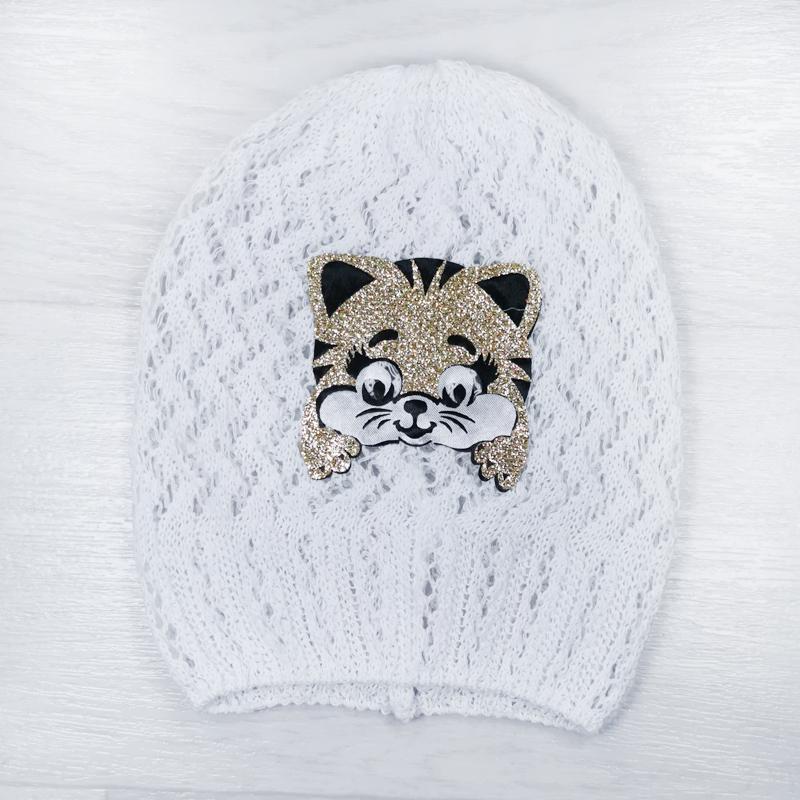 лд1283-03 Шапка вязаная ажурная из хлопка колпачок Котенок белая