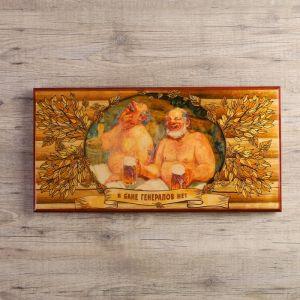 """Нарды """"В бане генералов нет"""", деревянная доска 60х60 см, с полем для игры в шашки 3827093"""