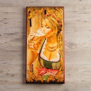 """Нарды """"Я люблю пиво"""", деревянная доска 60х60 см, с полем для игры в шашки 3827094"""