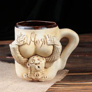 """Кружка для пива """"Бюст"""", шамот, декорированная глиной, глазурь, 0.5 л, микс"""