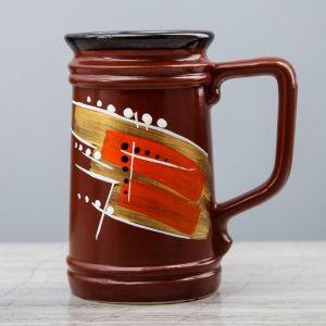 """Кружка для пива """"Абстракция"""" коричневая, глазурь, 0,5 л, керамика"""