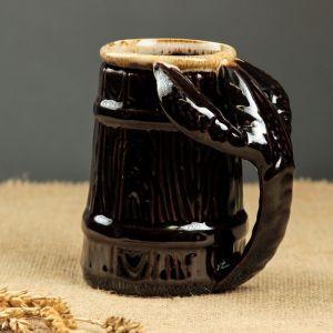 """Кружка для пива """"Рак"""", малая, коричневая, 0,3 л, микс, керамика"""