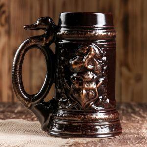 """Пивная кружка """"Рыцарь"""", глазурь, цвет коричневый, 1 л 1319723"""