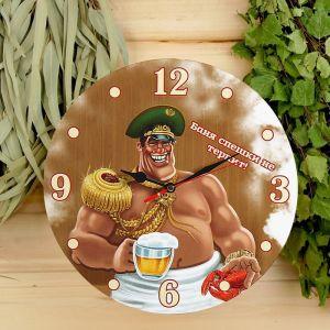 """Часы настенные, серия: Интерьер, для бани """"Баня спешки не терпит!"""" 3823867"""