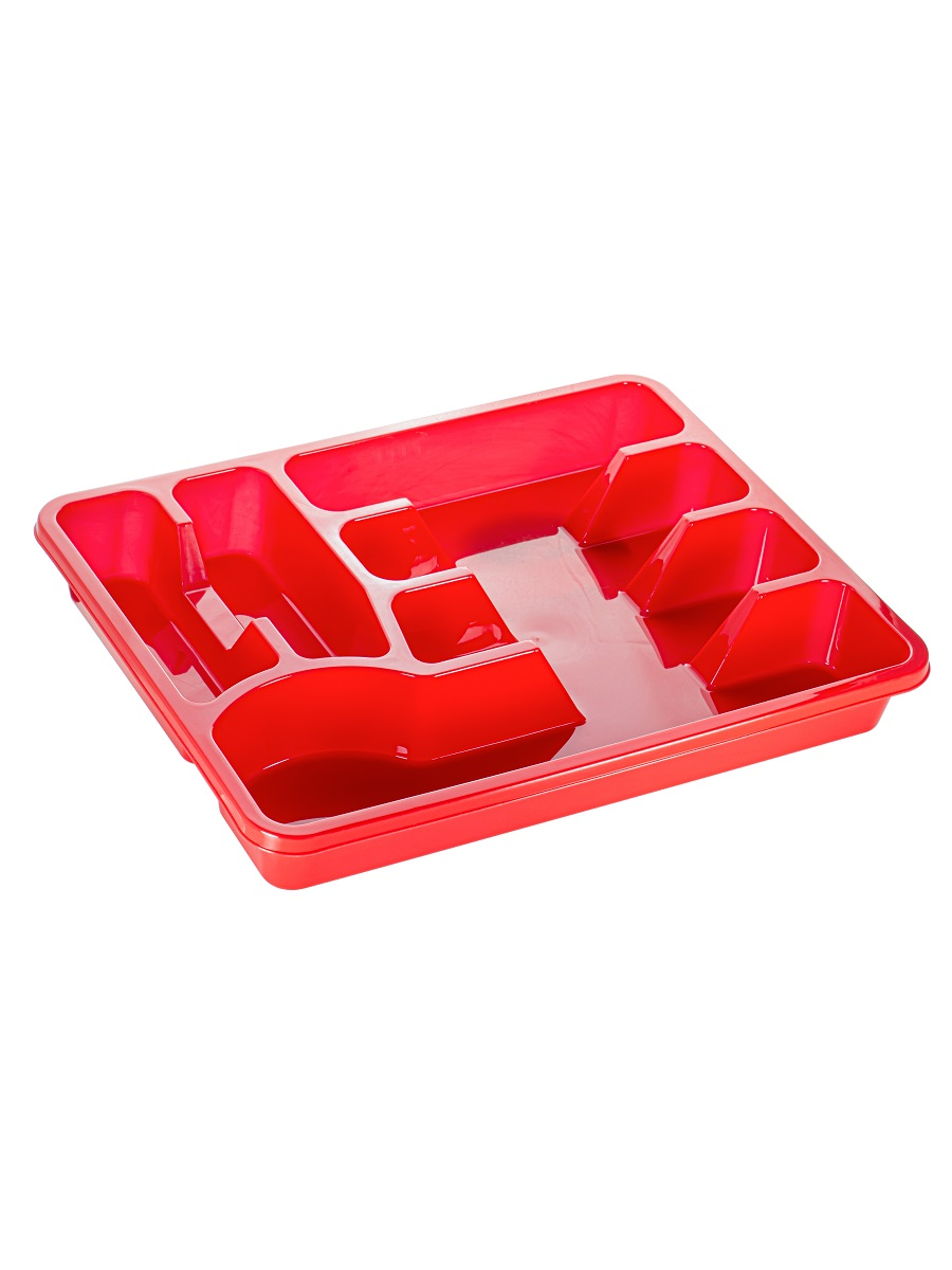 Лоток для столовых приборов большой красный Эльфпласт 38х30х5 см