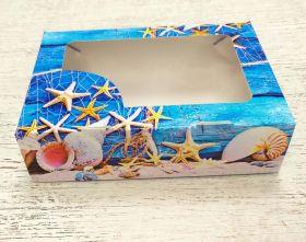 Коробка с окошком Морская 15х11х4см