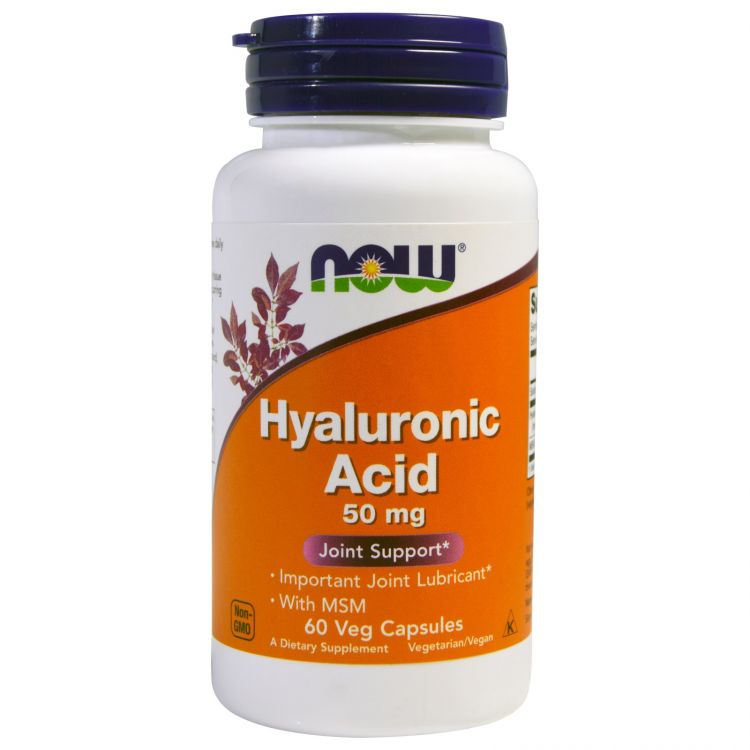 Hyaluronic Acid 50 mg + MSM от NOW 60 кап