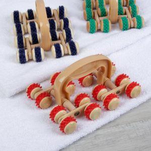 Массажёр «Сороконожка», универсальный, 16 колёс с шипами, деревянный, цвет МИКС