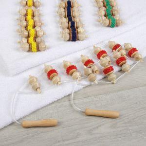 Массажёр-лента, 10 звеньев, деревянный, цвет МИКС