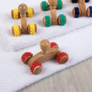 Массажёр универсальный, 4 колеса, деревянный, цвет МИКС, УЦЕНКА