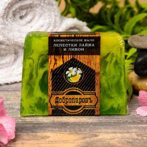 """Косметическое мыло для бани и сауны """"Лепестки лайма и лимон"""", """"Добропаровъ"""", 100 гр.   2922001"""