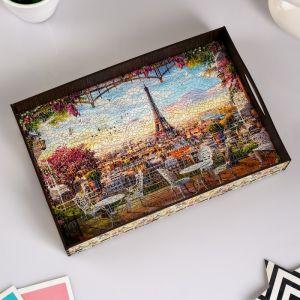 """Поднос с ручками """"Франция"""", деревянный, 30,4х20,4х4,7см 3564782"""