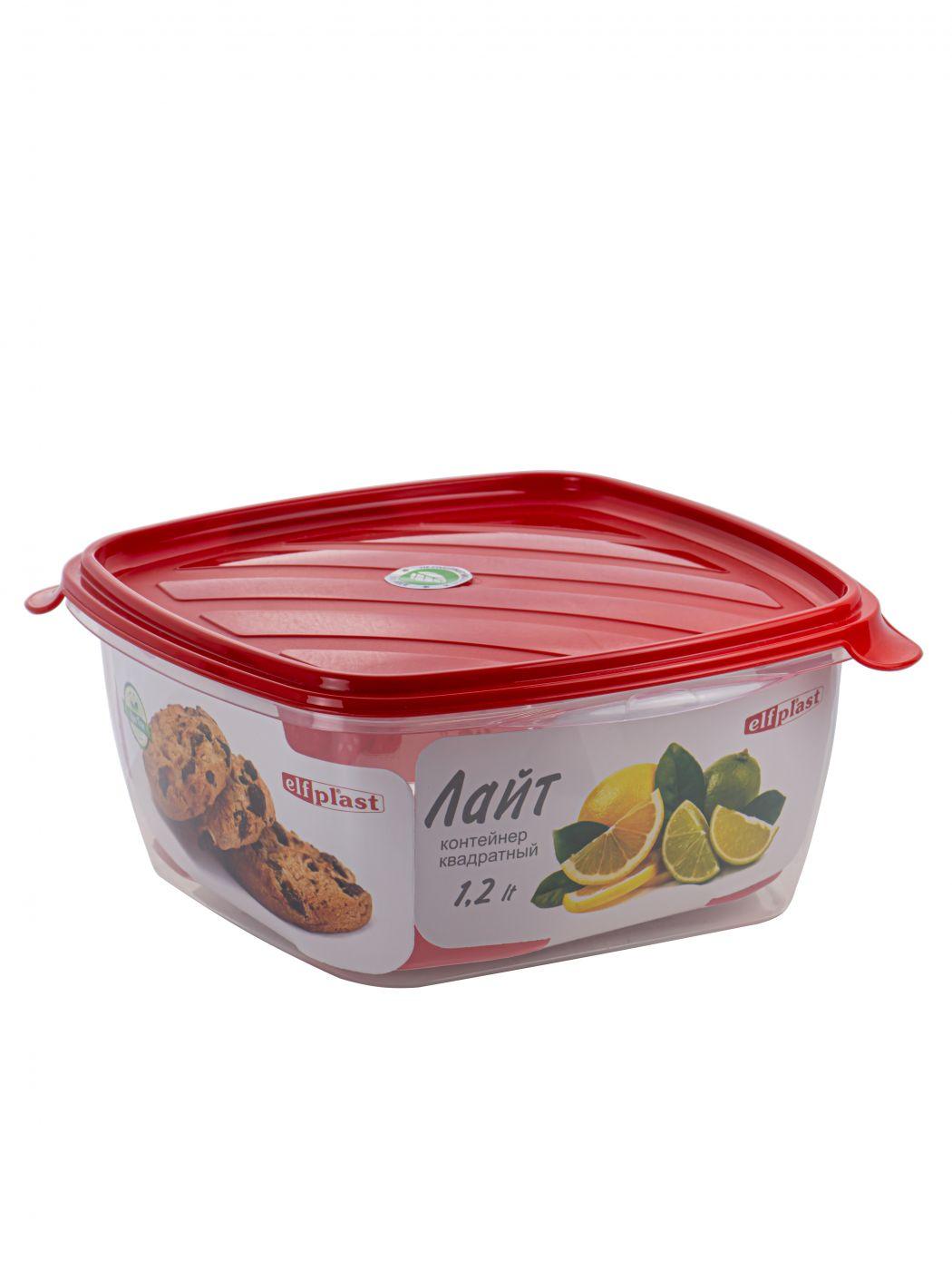 Контейнер пищевой Лайт 1,2 литра квадратный Эльфпласт контейнер для хранения еды с крышкой 17*17*17 см