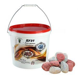 """Камень для бани """"Дуэт"""" яшма 10кг и серпентинит 10 кг обвалованный 4279942"""