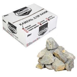 """Камень для бани """"Кварцит"""" белый, колотый, """"Добропаровъ"""" коробка 20кг, фракция 70-120мм 3294483"""