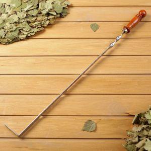 Кочерга металлическая с деревянной ручкой, с узором, 50?16?3 см   4461107