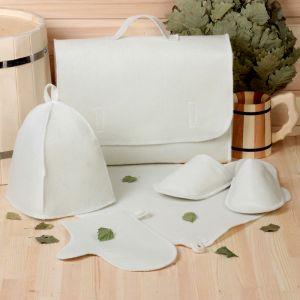 Набор банный портфель 5 предметов, белый, без вышивки, первый сорт 2822380